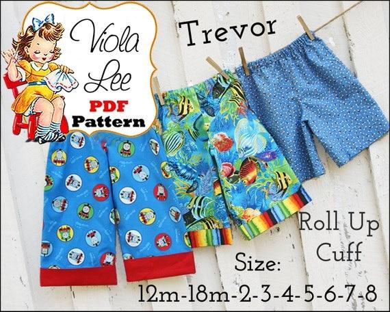 Trevor...Boy's Pants Pattern,pdf, lounge pants, Cuffed Long Pants, Beach Shorts Pattern, Shorts Pattern. Pajamas. Toddler Pattern
