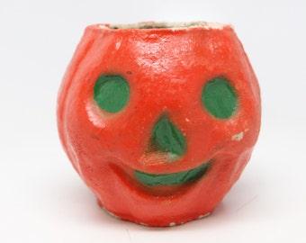 Vintage 1950's Halloween JOL Candy Container, Orange Paper Mache Jack-O-Lantern