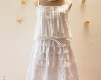 Beach Dream Girl - White Cotton Dress / Beach Dress / White Layer Skirt Lace Dress - Free Size S-M