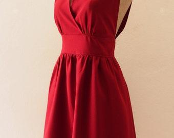 Red Prom Dress Christmas Dress, Red Vintage Inspired Dress Red Bridesmaid Dress Summer Wedding Dress, Dark Red Evening Dress - XS-XL,custom