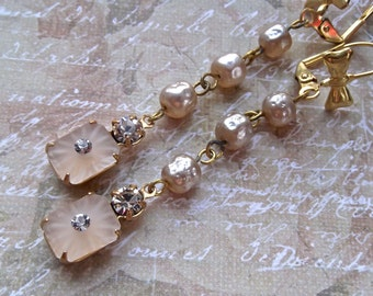 Long Vintage Pearl, Camphor Glass Pearl, Swarovski Camphor Glass, Vintage Rosary Chain, Vintage Dangles, Long Pearl Dangles Pearls Swarovski