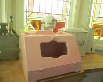 Shabby  Vintage bread box pale light pink wood shabby chic cottage prairie