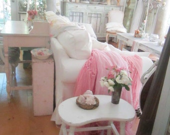 Shabby chic chippy white wood  side table  stool