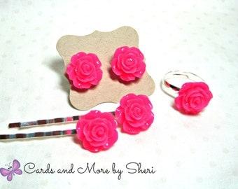 Roses Flower Ring, Earrings and Bobby Pin Set - Flower Girl Jewelry - Little Girl Gifts - Gifts for Girls