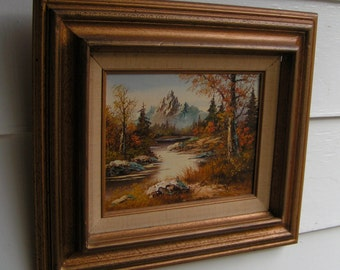 1980s Oil Painting Mountains River Autumn Landscape Framed Wood Gold Leaf