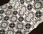 Cloth UnPaper Towels Flowers Black Gray White Set of 10