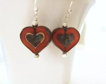 Heart Earrings Czech Glass Heart Earrings Valentines Day Jewelry Amber Earrings  Valentine Jewelry Romantic Love Gift Idea For Her