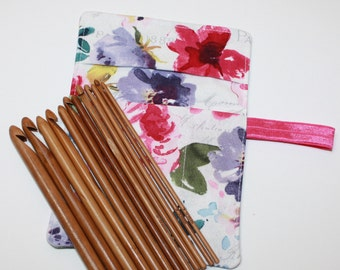 Set of Bamboo Crochet Hooks and Pink & Purple Floral Fabric Crochet Hook Organizer, Crochet Hook Holder Rollup