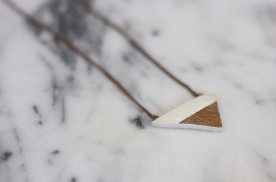 It's all Golden // Gold Dipped Geometric Leather Necklace // White Triangle Necklace