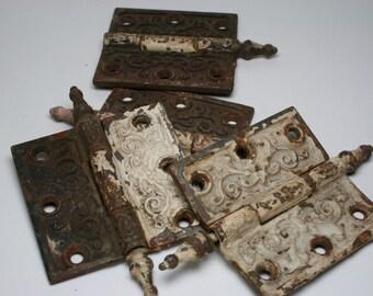 Antique/Vintage Cast Iron Door Hinges - 3pc Plus Partial Hinge
