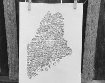 Typography Print. Handwritten. Art. State Art. Maine Art. Maine cities and towns. 8.5 X 11. Maine Wall Art. Maine Unique Gift