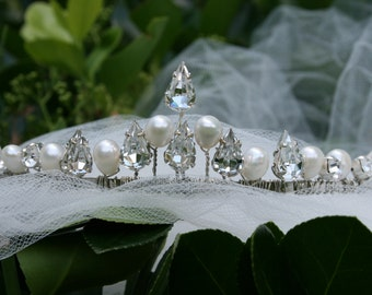 Bridal Headpiece Freshwater Pearls and Swarovski Crystals/Cotillion/Prom/Quinceanera Tiara Headpiece/Handmade by Nostalgic Baby Couture