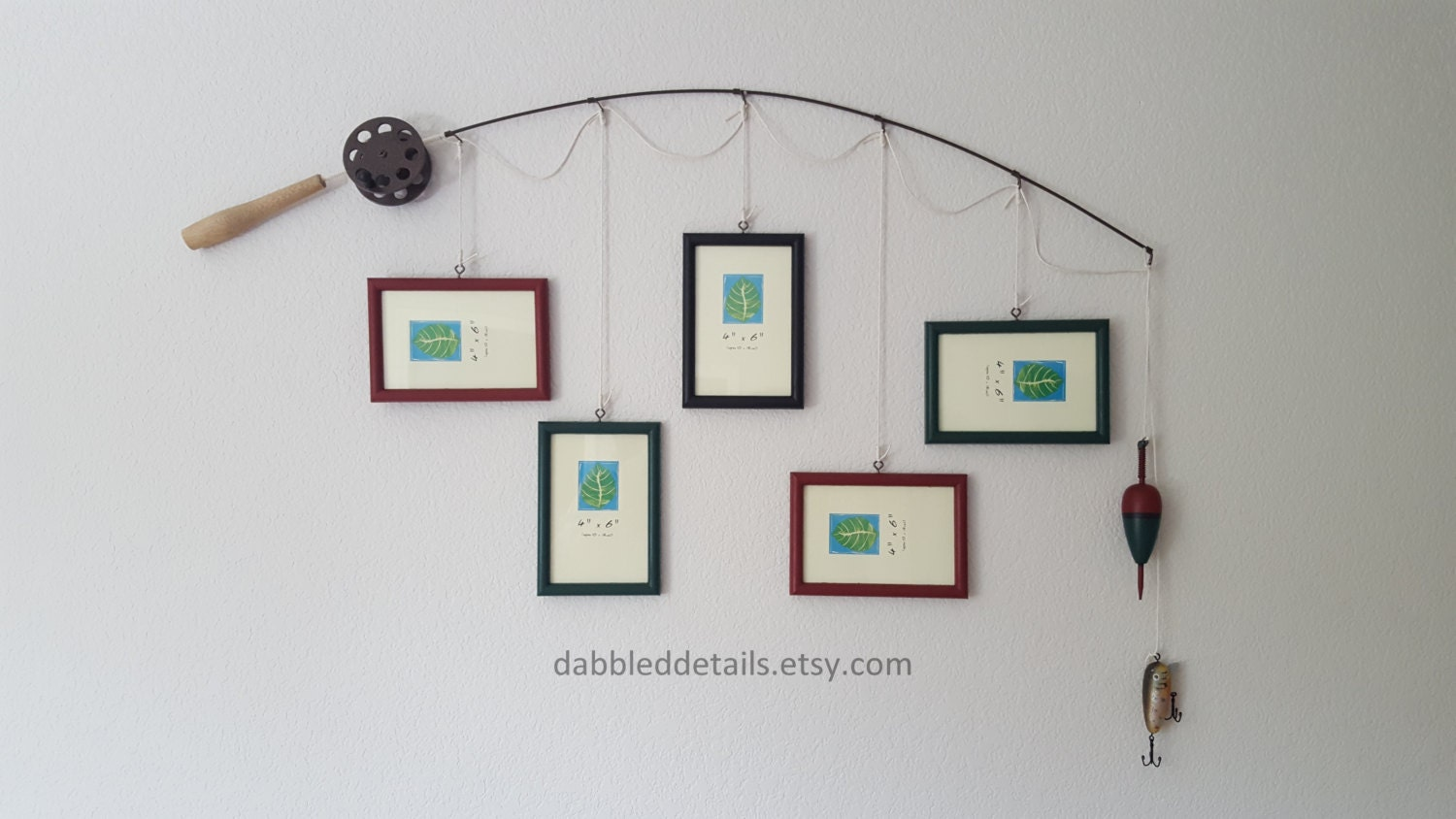 Fishing pole picture frame brown or silver pole 5 4 in x for Fishing picture frame