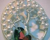 My Heart Pearl and Swarovski Vitrail HeartTree of Life, White Swarovski Crystal Pearl Tree of Life