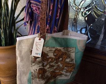 BIG burlap market tote bag shopper Vintage fabric Lions tigers nature safari