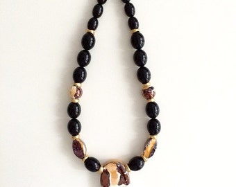 1980s Black Jumbo Porcelain Bead Necklace
