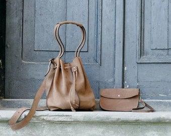 Light brown leather woman bag baggy shape Maja 2 Ladybuq art design