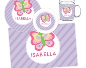 Personalized Butterfly Plate, Bowl, Mug or Placemat - Butterfly Dinnerware Set - Personalized Melamine Plate for Kids - Children Plates
