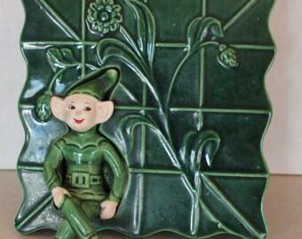Vintage Treasure Craft Green Elf Sprite Wall Pocket