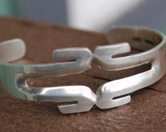 Vintage Modernist Mexican Sterling Silver Cuff Bracelet