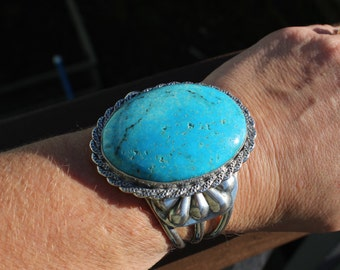 RESERVED~ Huge Heavy Old Pawn Navajo 1960's Navajo Turquoise Silver Cuff Bracelet  88.49 Grams