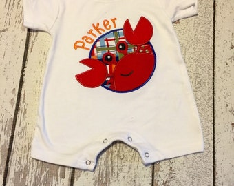 Crab applique, madras summer crab, beach crab, boys crab romper, baby boys summer crab outfit , boys beach outfit, baby boy crab romper