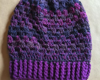 Granny Stitch Slouch Beanie- Grape Crush