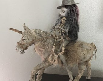 The last Ride OOAK unicorn and witch art doll assemblage