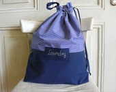 Travel laundry bag, laundry bag, stripes bag with cotton lining, 50 cm x 40 cm