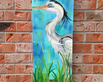 Heron painted wooden panel