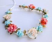 Aqua Peach Coral Cream Ivory Floral Crown - Floral Halo Floral Boho Headband Weddings Newborn Photo Prop Shabby Chic