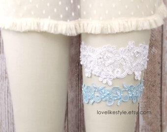 Whtie and Light Blue Beaded Lace Wedding Garter Set , White Lace Garter Set, Toss Garter , Keepsake Garter  / GT-44
