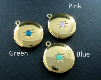 5pcs 21mm  vintage style antqiued silver round photo locket pink,green,blue artificial opal crystal star DIY pendant charm supplies 1113029