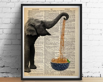 ELEPHANT Eats Noodles Spaghetti Bowl Art Print Poster Animal Illustration Kitchen Antique Dictionary Book Page 5x7 8x10 A3 +More Sizes