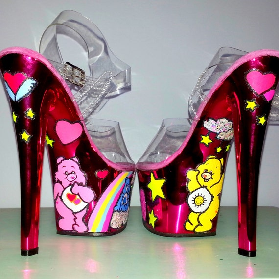 CARE BEARS hot pink metallic UV exotic dancer stripper burlesque Pleaser Sky 7 inch heels