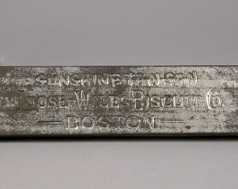 Antique Biscuit Tin, Sunshine Tan-San, Loose-Wiles Biscuit Co. Boston