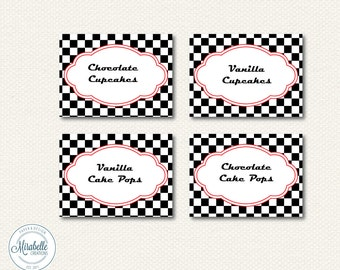 PRINTABLE Placecards / Fancy Labels -- Race Car Collection -- Mirabelle Creations (Digital Download)