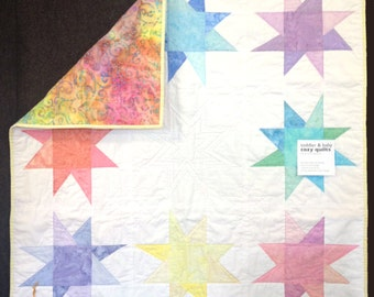 You're a Star, Modern Baby & Toddler Quilt in white and pastel batiks