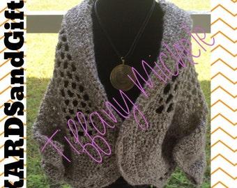 Gray Chunky Net Cardigan with handmade necklace