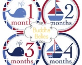 Baby Boy Nautical Monthly Stickers - Month Stickers - Sailboats and Whales - Nautical Baby Shower Gift - Patriotic Baby - Baby Decals