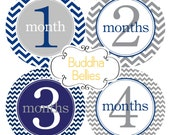 Baby Boy Monthly Stickers Baby Month Sticker Monthly Bodysuit Stickers Navy Gray Chevron Month Stickers Monthly Photo Stickers