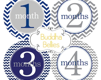 Baby Month Stickers Baby Month Sticker Monthly Bodysuit Stickers Navy Gray Chevron Month Stickers Monthly Photo Stickers
