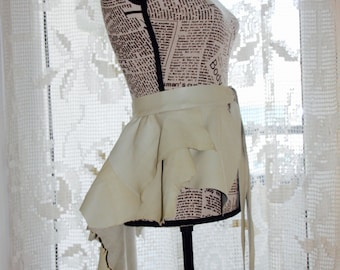 CLEARANCE Leather Peplum ,  Champagne Leather Skirt ,  Leather Bustle , Leather ivory Over Skirt , Bustle Belt Overskirt , Ivory Peplum