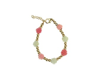 Gold Beads with Pink, Rose & White Flowers Bracelet (BGF)