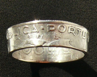 Portugal 5 Escudos Silver Coin Ring, 1948 and Ring Size 9