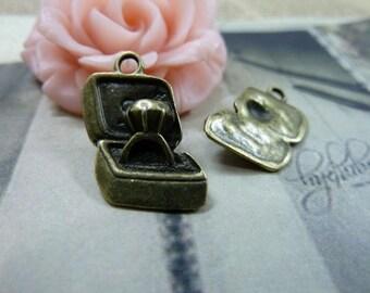 10pcs 12*27mm antique bronze proposal ring charms pendant C1582