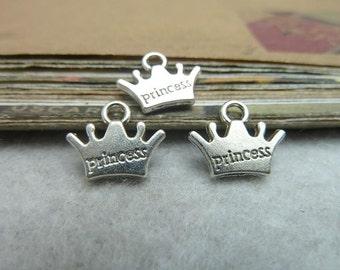50pcs 10*13mm antique silver crown princess charms pendant C6962