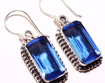 "Tanzanite Quartz Dangle Earrings 925 Sterling Silver Rectangles 1 3/4"" NOS Vintage"