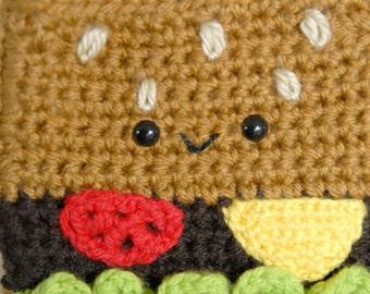 Burger Crochet Purse -Crochet-Kawaii-Bags-Women Accessories-Food Bag-Brown-crochet Food