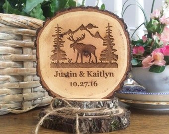 Rustic Wedding Cake Topper, Moose Lodge Cake Topper, Woodland Wedding, Barn Wedding, Custom Wedding Cake Topper, Personalized Topper